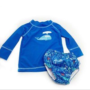 Swim shirt and swim diaper set /infant/EUC/whale